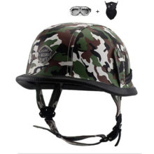 CHROME MIRROR German military style motorcycle helmet